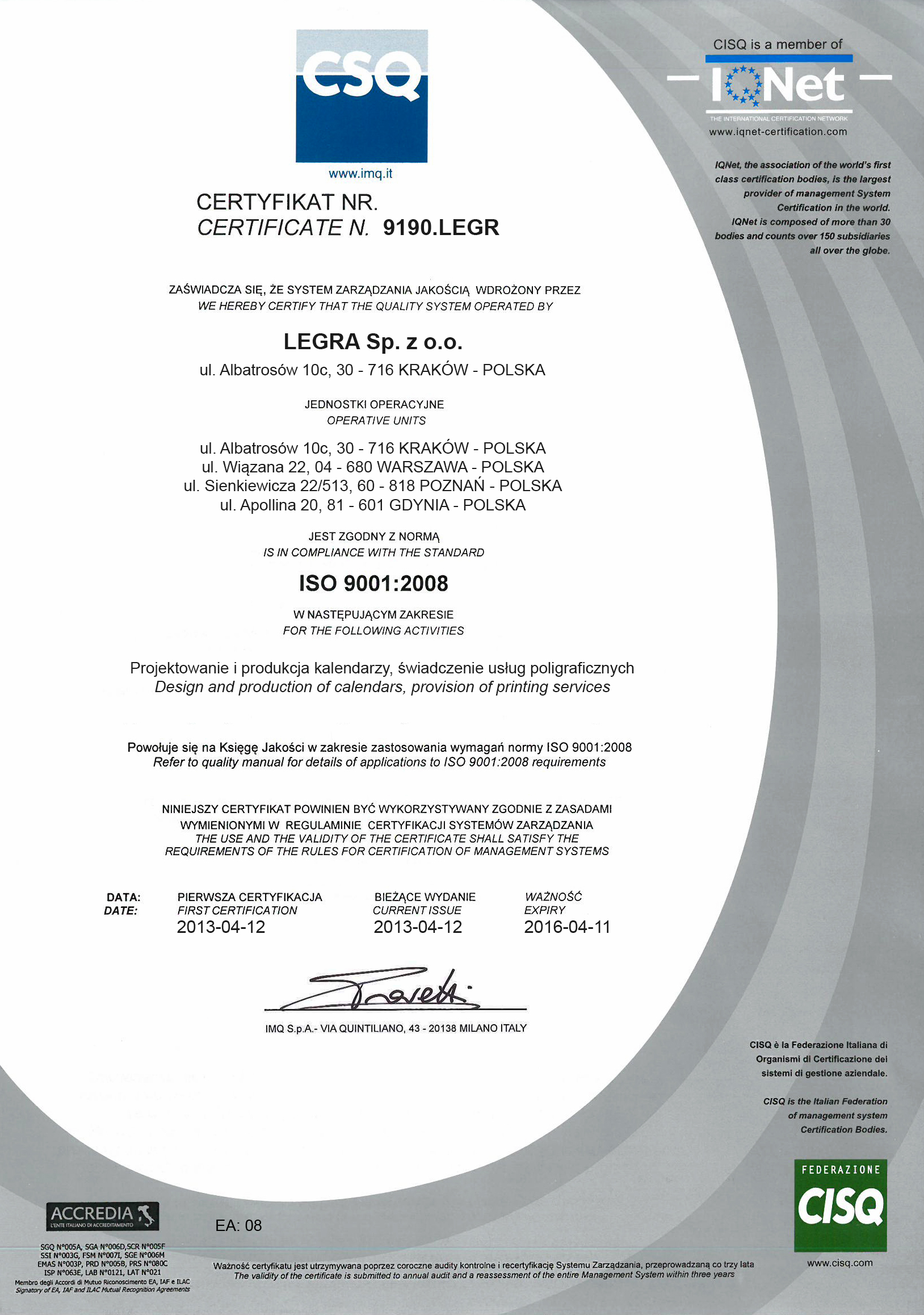 Legra certyfikat CSQ